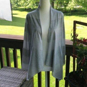 Chico's Gray/Silver Metallic Open Front Cardigan